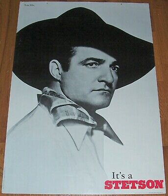Tom Mix It's a Stetson Hat Store Advertising Poster Sign Old West Western Print