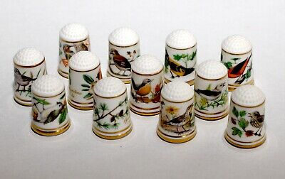 Franklin Porcelain Thimbles - Group of 12 with Bird Motiff