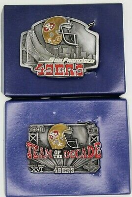 Vintage San Francisco 49ers Team Of The Decade Belt Buckle Lot of 2 Siskiyou 559
