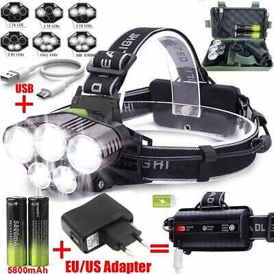 160000LM T6 LED Headlamp Rechargeable Headlight 18650 Flashlight Head Torch Camp