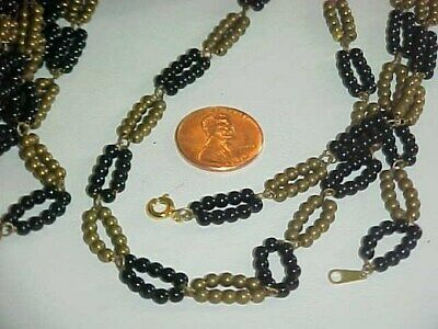 """Vintage Brass Jet Ball Chain Deco Oval Loop Link 24"""" Necklace   L886"""