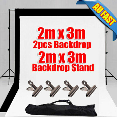 Photography Studio 2x3m Black White Backdrop Screen Background Support Stand Kit