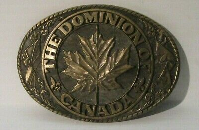 1970's Tony Lama 1st Edition State Seal Brass Belt Buckle Dominion of Canada