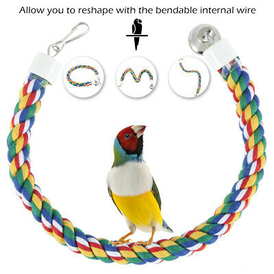 Hot Pet Parrot Chew Rope Budgie Bell Bird Perch Coil Swing Cockatiel Cage Toy