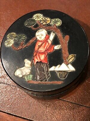 Antique Chinese Lacquer Box Inlay Scene On Top ~stone & jade Composition 1920's
