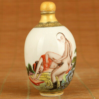 Chinese old porcelain hand painting art belle culture snuff bottle noble gift