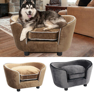 Large Soft Pet Dog Bed Sofa Cushioned Warm Velvet Mattress Basket Couch Chair Uk