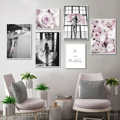 Pink Rose Flower Angel Poster Nordic Wall Art Canvas Print Decoration Picture