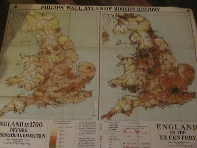 Vintage/Old Historical Atlas 8 England in 1700 & 2oth Century - Industrial Revol