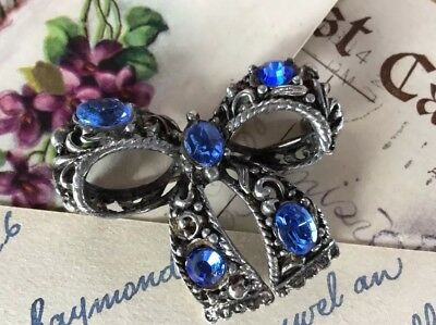 Antique Art Nouveau Beautiful Ornate Blue Czech crystal Ribbon Bow Brooch