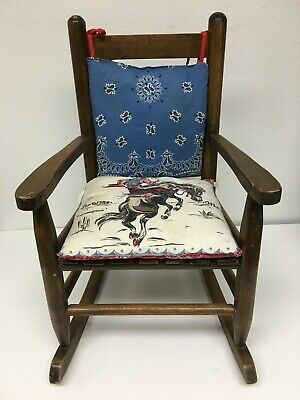 Vintage Childs Wooden Rocking Chair Folk Art Rodeo Cowboy Rocker Western