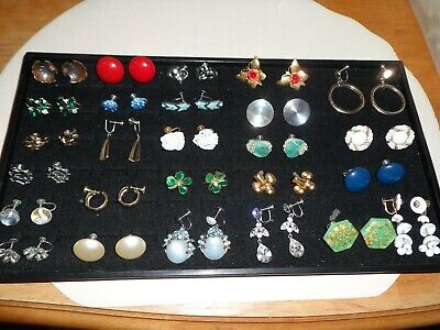 Lot of 25 Pairs of Antique & Vintage Screw On Earrings ~Some Designer Signed~