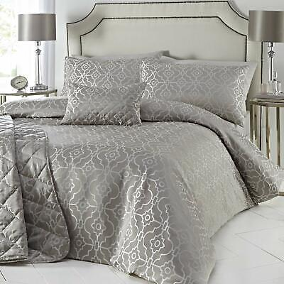 Luxury Silver Embroidered Jacquard Duvet Quilt Cover Bedding Set OR Cushion