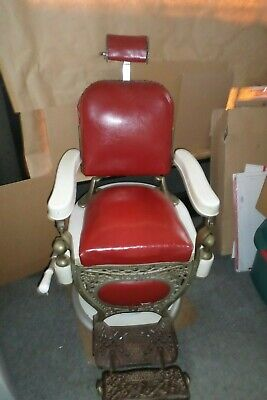 Early 1900's Antique Barber Chair Theo Kochs Seat & Backrest Original Early 1900