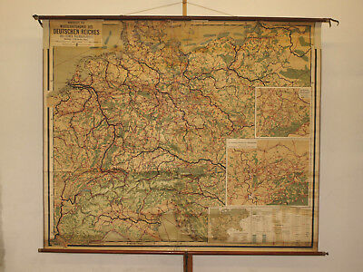 School wall map Economic studies German Reich vintage 80 5/16x66 7/8in ~1919