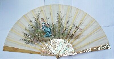 Beautiful 19Th Century French Chardin Parfumeur Hand Painted & Signed Hand Fan