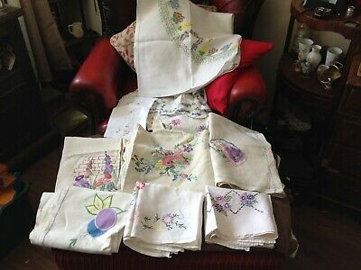 11x vintage embroidery table cloths and napkins