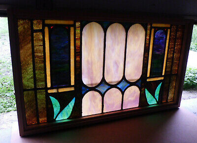 Antique Church Stained Glass Window Architectural Salvage Victorian W645