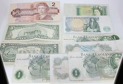 10 Vintage Banknote Bundle-Mixture Of Notes-Varying Condition-Free Postage World