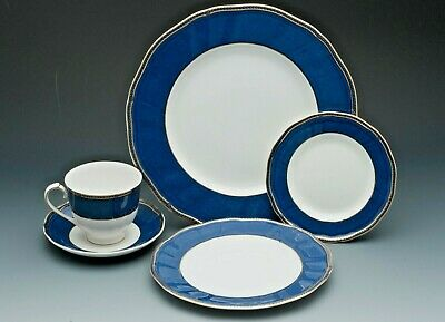 Crown Sapphire Fine bone china by Wedgewood, England, 5 Piece Place Setting