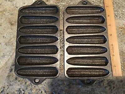 Vintage cast iron tea size LOT of 2, corn bread muffin pan bake unmarked