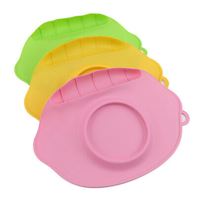 Infants Silicone Dish Multicolor Suction Table Food Tray Placemat Plate Bowl 6A