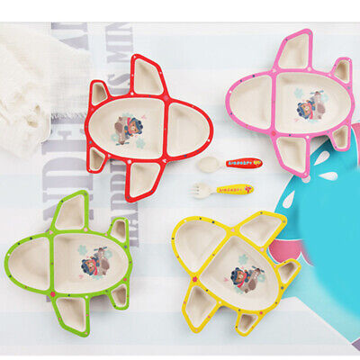 Infants Airplane Tableware Multicolor Plate Food Tray With Spoon Fork Dishes 6A