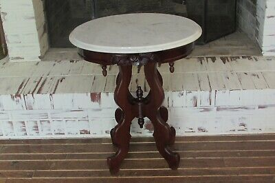 Vintage Carved Rose Victorian Mahogany Italian Marble End Table #1896B