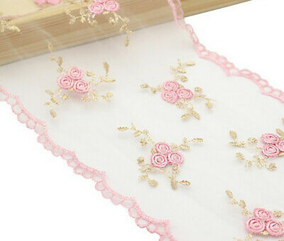 1Yard 14cm Pink Flower Embroidered Lace Fabric Ribbons For DIY Handmade Craft
