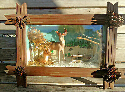 Antique Vtg Tramp Folk Art Footed Shadow Box Christmas Reindeer Winter Wood Tin
