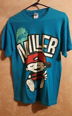 Mac Miller most dope cartoon size medium t-shirt blue with color 2 thumbs up