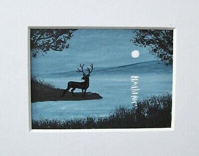Original Stag In Moonlight Signed Landscape Miniature Aceo Painting
