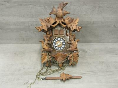 Black Forest German Cuckoo Clock Squirrel For Parts or Repair No Weights