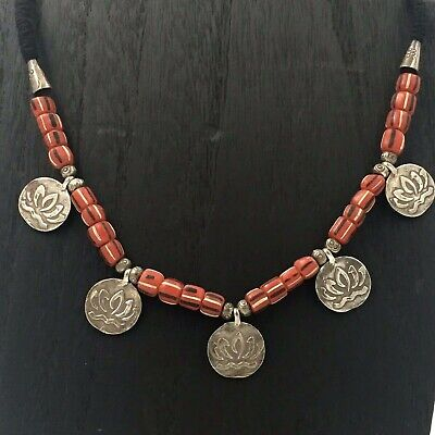 Thailand Hill Tribe - Silver + Antique Beaded Yoga Lotus Necklace - DOUBLE-SIDED