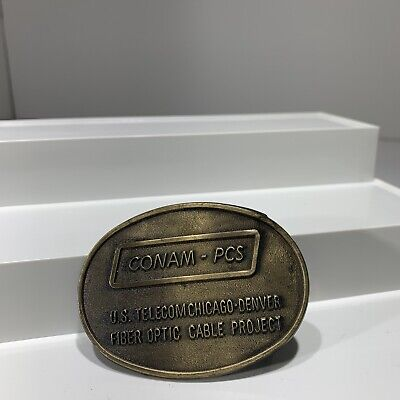 VINTAGE METAL/ BRASS BELT BUCKLE- Conan Pcs Telecom Advertising Piece Chicago