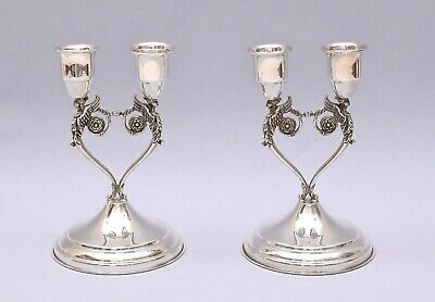 Very Nice Pair Of Double Solid Silver Candlestick