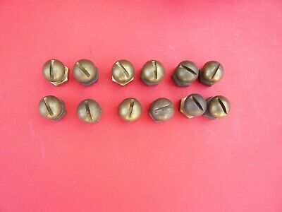 """12 Vtg.5/16 X 1/2"""" Long  Solid Brass Round Slotted Head Fully Threaded Bolt&Nuts"""