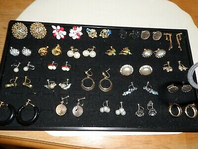 Lot of 25 Pairs of Antique & Vintage Screw On Earrings ~Many Designer Signed~