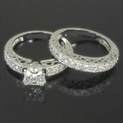 Colorless Princess Square Diamond Ring 14 Kt White Gold 2.1 Ct Vvs1 D Ornate