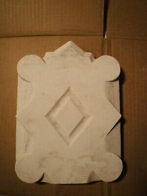 #2 Antique Carved Marble fireplace CREST/PLAQUE Architectural Salvage garden NYC