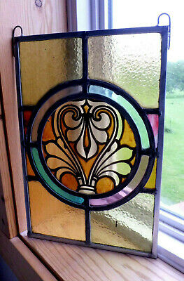 Antique Church Stained Glass Window Architectural Salvage Classical Leaf W652