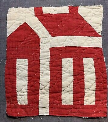 Antique Vintage Late 1800s Early 1900s Quilted Quilt Block Red Schoolhouse