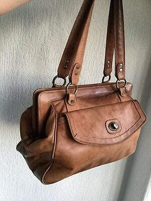 Large Vintage Thick Tan Conker Brown Leather Tote Work Doctor Gym Shoulder Bag