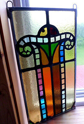 Antique Church Stained Glass Window Architectural Salvage Colorful Scroll W657
