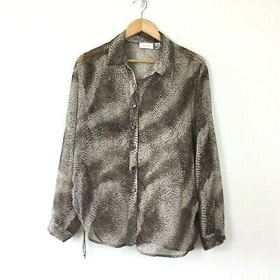 176f63ca3bc296 Chicos Button Down Blouse Top Size 2 Large Brown Animal Print Sheer Ruched  Sides