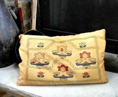 "antique ORIG ART DECO SAMPLER CROSS STITCH PILLOW feather filled 21""x14"""