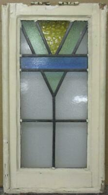 "MIDSIZE OLD ENGLISH LEADED STAINED GLASS WINDOW Nice Geometric Design 14"" x 26"""