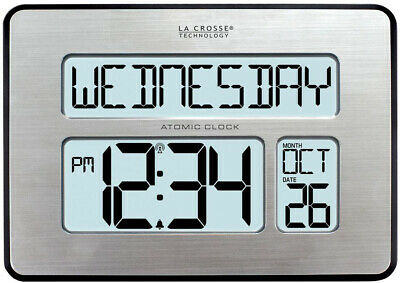Digital Clock Atomic Silver Extra-Large Digits Calendar Wall-Mounted Standing