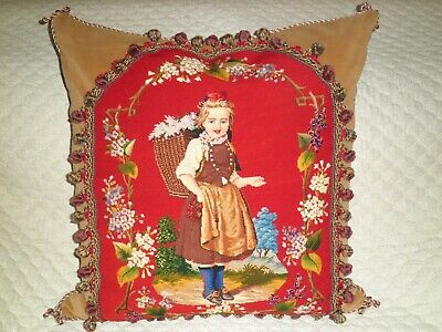 "HUGE SPECTACULAR ANTIQUE NEEDLEPOINT TAPESTRY WOOLWORK PILLOW OF GIRL 26"" x 26"""