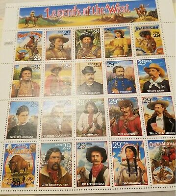 Legends of the West Stamp Sheet, Scott #2869, 1994